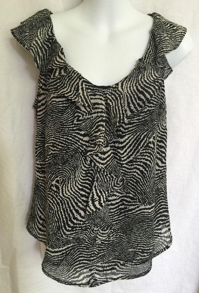 5a68d0a54e6319 Zebra Print Sleeveless Ruffle Blouse 8 Liz Claiborne Black White Lined
