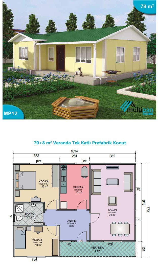 Mp12 70m2 8m2 2 Bedrooms 1 Bathroom Lounge Kitchen Veranda Hall 8m2 Bedroom 1 12m2 Bedroom 2 10m2 Bathroom 5m Ev Plani Ev Zemin Planlari Ev Dis Tasarimi