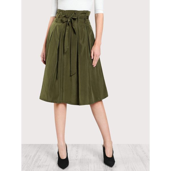 96a9cfdd7f SheIn(sheinside) Bow Tie Waist Box Pleated Skirt ($16) ❤ liked on Polyvore  featuring skirts, army green, knee high skirts, army green skirt, zipper  skirt, ...