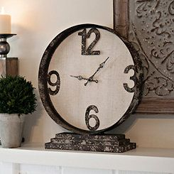 distressed cream metal table clock metal tablesapartment ideas fireplacesclocks
