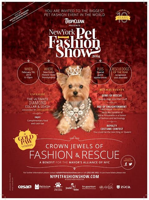 Crown Jewels Of Fashion And Rescue New York City Pet Fashion Show Feb 7th 2014 6 10pm At The Hotel Pennsyl Pet Fashion Fashion Event Fashion Show Poster