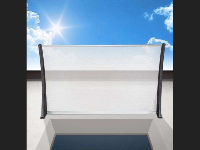 Add a finishing touch to your home or building with one of these stylish outdoor fixed awnings. Its crisp, clean design will instantly give your entranceway or windows the shelter you've been looking for.   Made of 3mm solid polycarbonate plastic, the pan