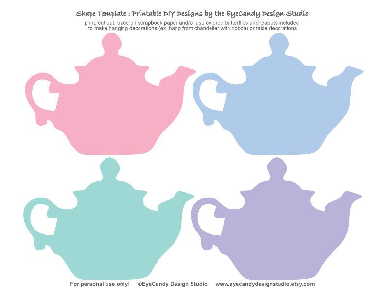photograph about Tea Party Printable named Printable Tea Pot Butterfly Templates - Tea Occasion