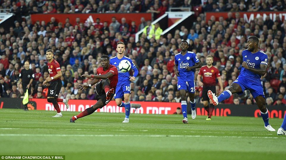 Pogba had another chance to score for United with a well