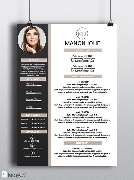 business infographic cv resume template easycv best business