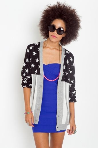 American flag print cardi. #fashion