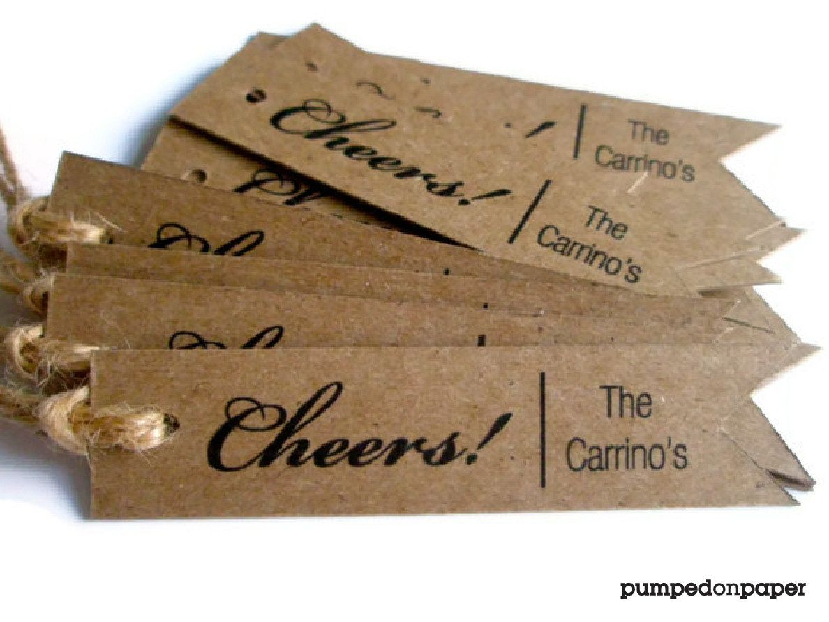 Cheers personalized gift tags custom wedding favor tags thank