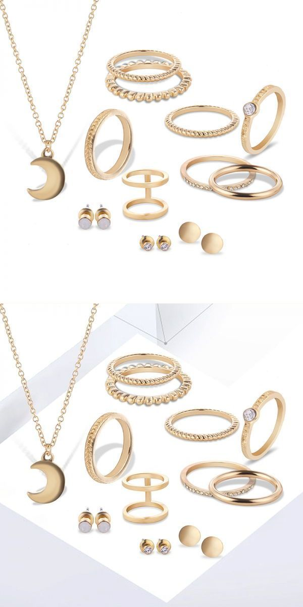 12 pcs of gold silver plated rings crystal earrings necklace ...