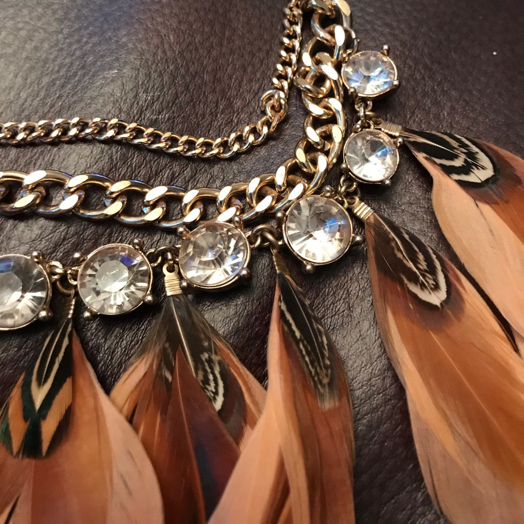 Golden Feathers & Crystal Glam Statement Necklace