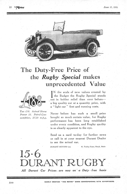 Durant Rugby 15.6 Motor Car Autocar Advert 1924   autos ...