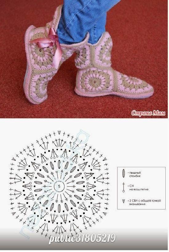 Häkelmuster Fundgrube: Granny-Stiefel als Hausschuhe | Crochet ...