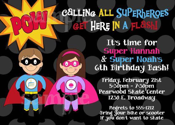 Superhero Birthday Invitation PRINTABLE Twin Joint Split – Superhero Birthday Invitations Free Printable