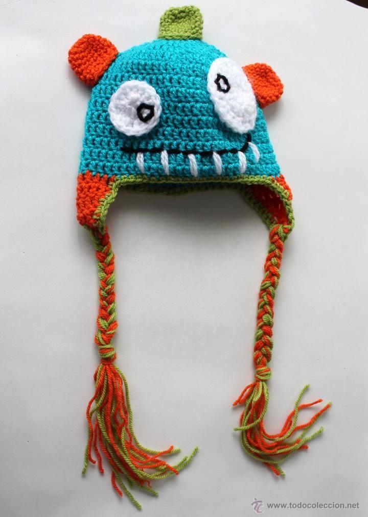 Gorro crochet de lana - Para niño/a 1 o 2 años - Monstruo - Hecho a ...