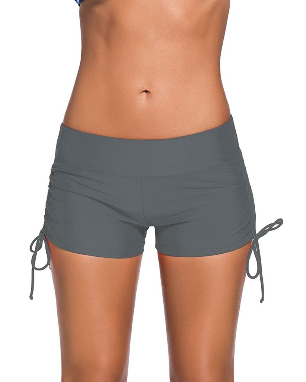 293f62e30d Women's Clothing, Swimsuits & Cover Ups, Tankinis,Women's Solid Color  Boyleg Bikini Bottom Plus Size Swimsuit Shorts - Gray - CJ182X2834Y  #Fashion ...