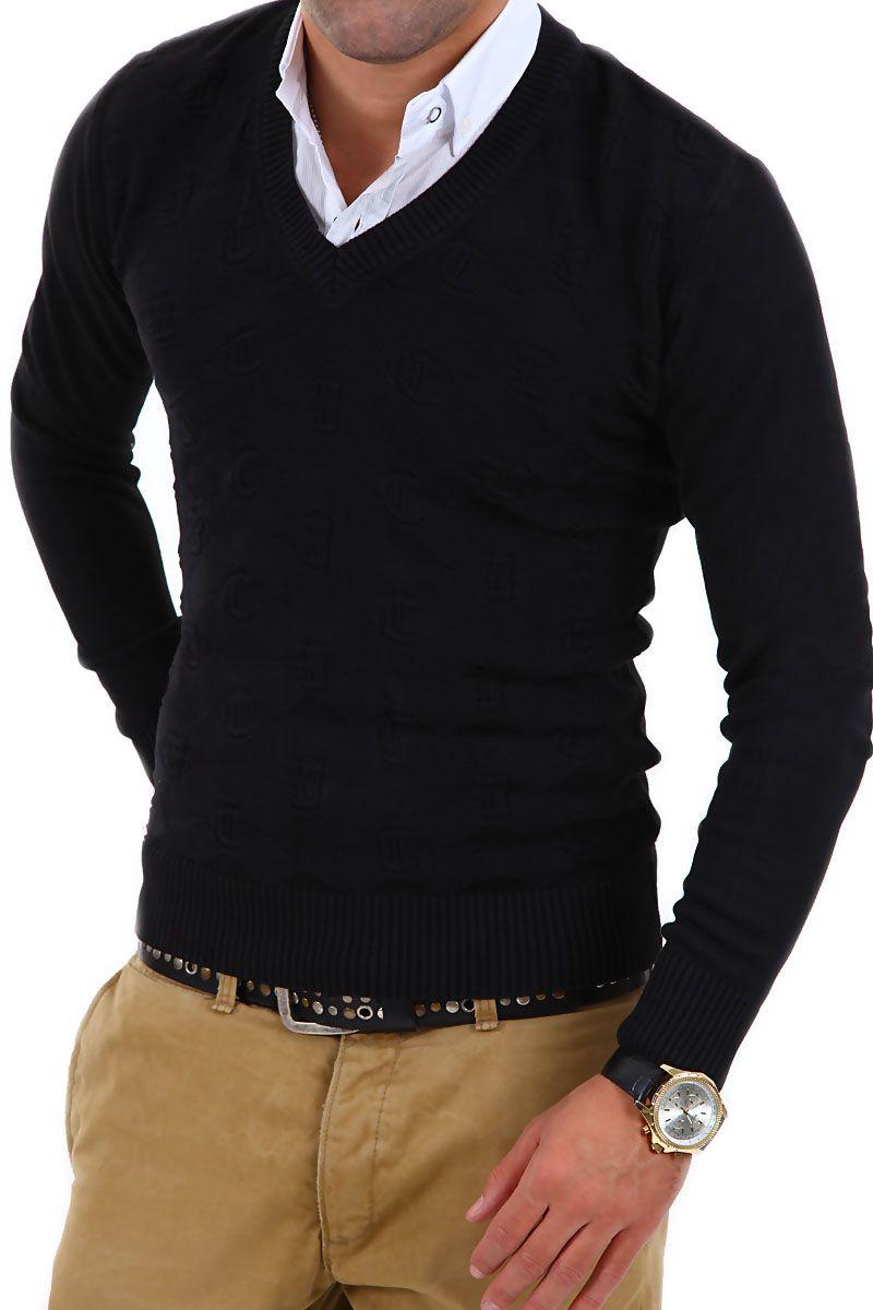 details zu cipo baxx 2in1 v pullover mit hemd einsatz strickpullover schwarz grau neu. Black Bedroom Furniture Sets. Home Design Ideas