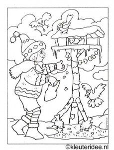 Kleurplaten Wintervogels.Kleurplaat Meisje Met Vogelhuisje Kleuteridee Nl Winter