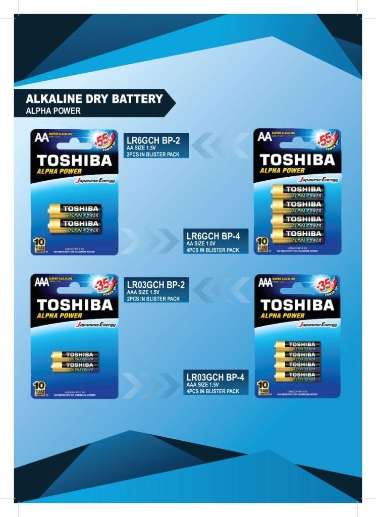 Toshiba Alkaline Dry Battery Alpha Power Toshiba Alkaline Rechargeable Batteries
