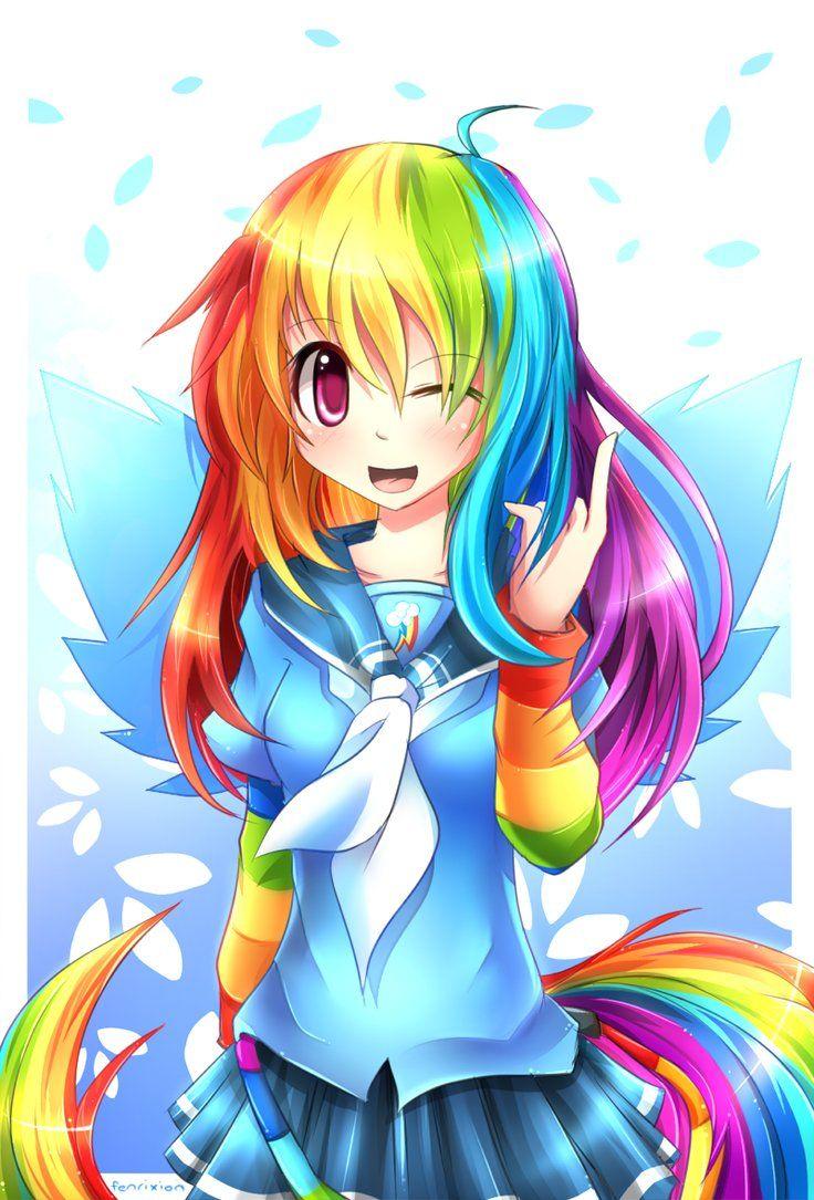 Mlp Gakusei Rainbow Dash By Fenrixion On Deviantart My Little