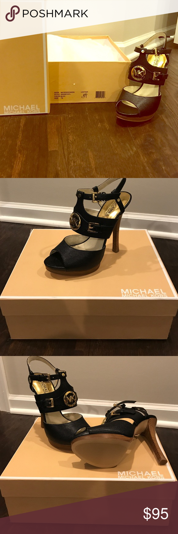 Michael Kors Mackenzie Sandal - size 7 Never worn - New in box!  Amazing 4.5 inch heel. Perfect for any occasion Michael Kors Shoes Heels