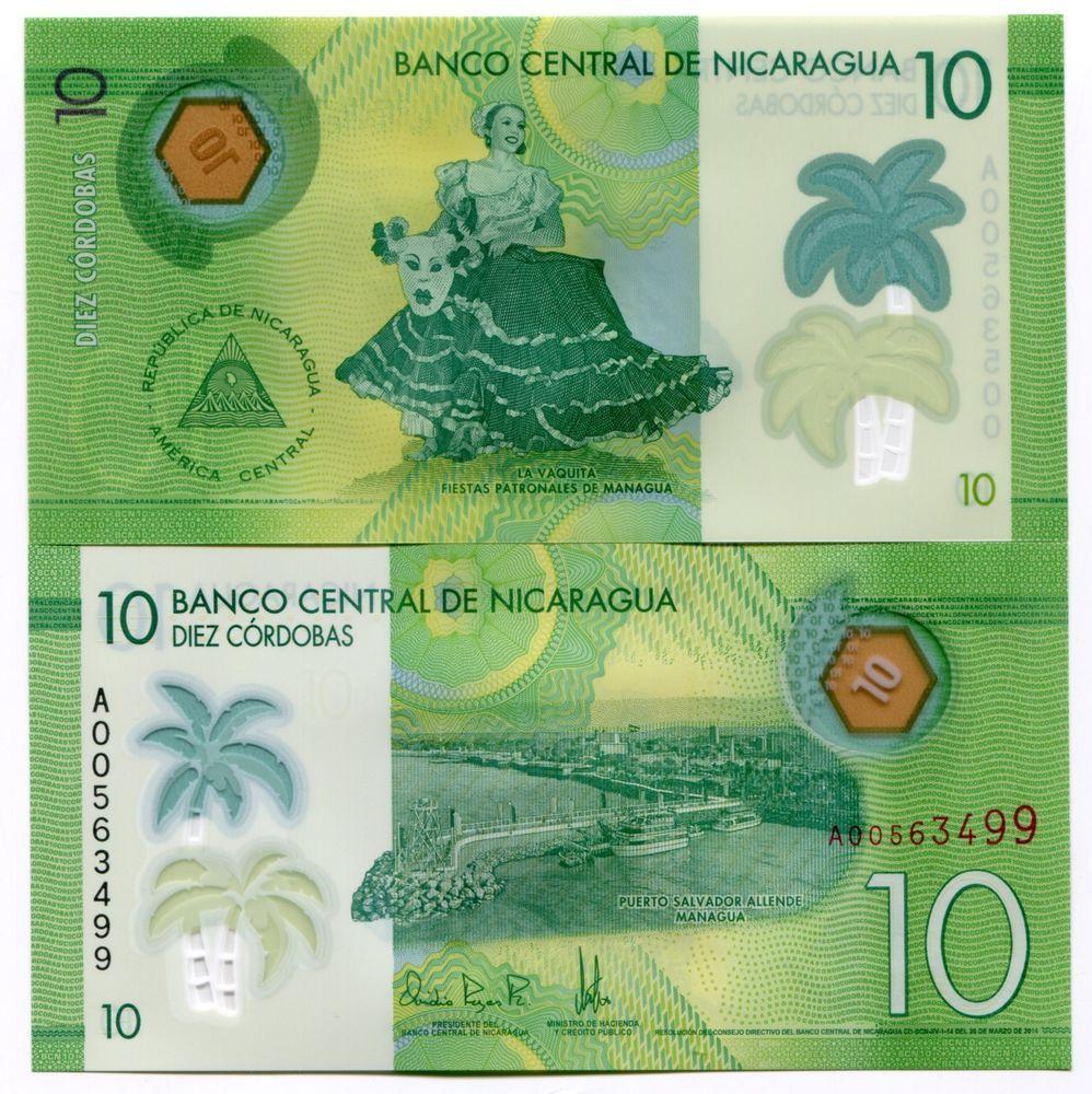Nicaragua 2014 2015 P208 Polymer 10 Cordobas Banknote Money Unc X 5 Notes Notas Moedas Dinheiro