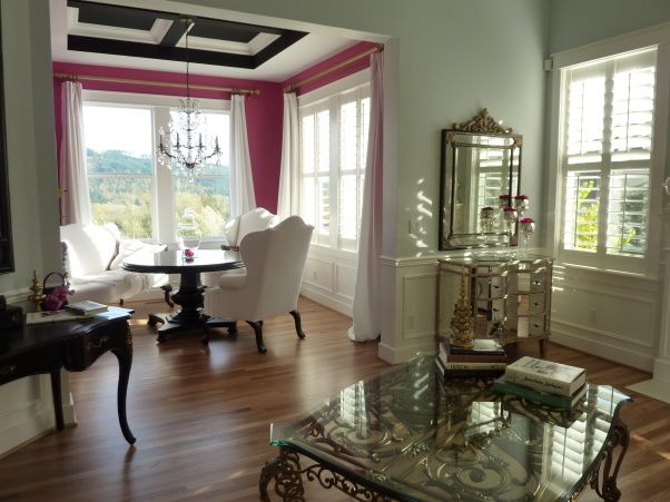 Fuchsia dining room, Benjamin Moores razzleberry and white velvet fabric. Zebra print rug? , Not sure if the white part of the ceiling should be black?? , Dining Rooms Design
