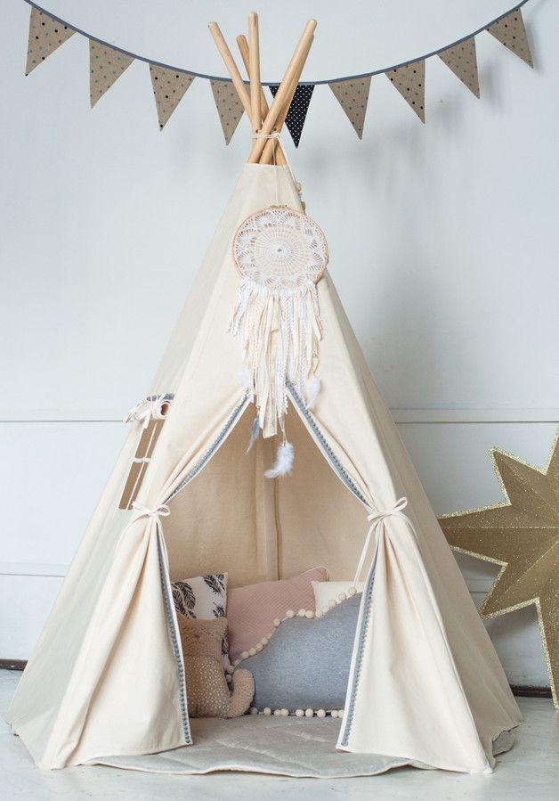 kinderzimmerdekoration das tipi grau ponponband ein designerst ck von moimili bei. Black Bedroom Furniture Sets. Home Design Ideas