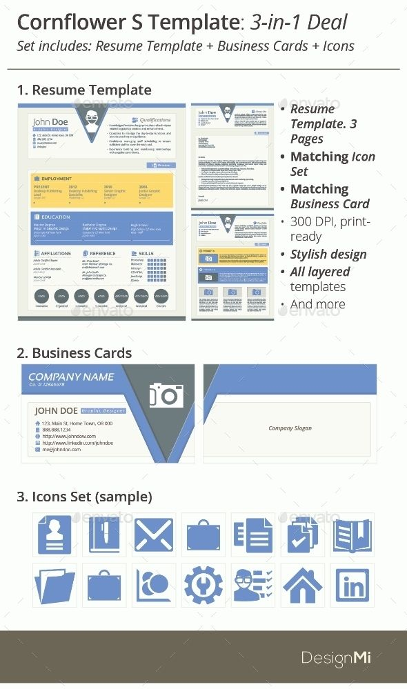 3-in-1 Deal Resume Template + Icons + Business Card, Cornflower S - resume deal