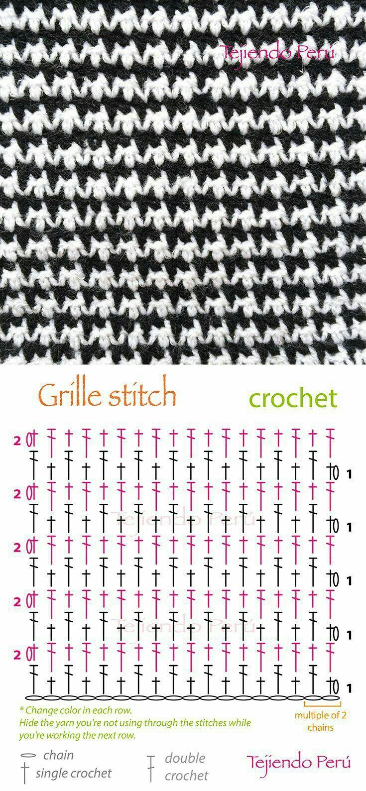Hahnentrittmuster gehäkelt | Crochet: Stiches | Pinterest | Crochet ...