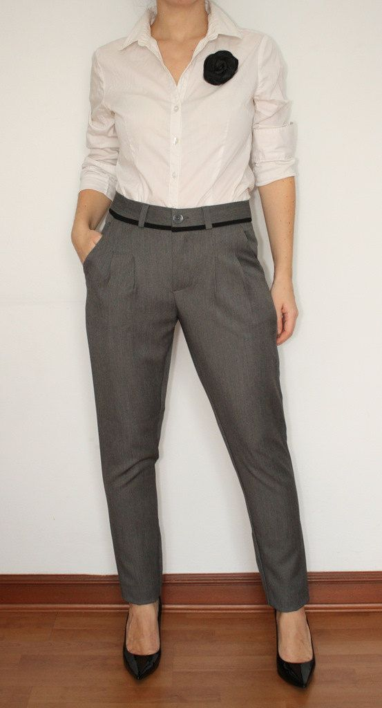 Womens Pants High Waisted Trousers In Gray Office Fashion