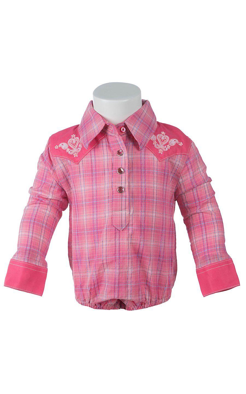 01cdd6b3f Wrangler® All Around Baby™ Girls Pink & Lavender Plaid Long Sleeve Western  Onesie