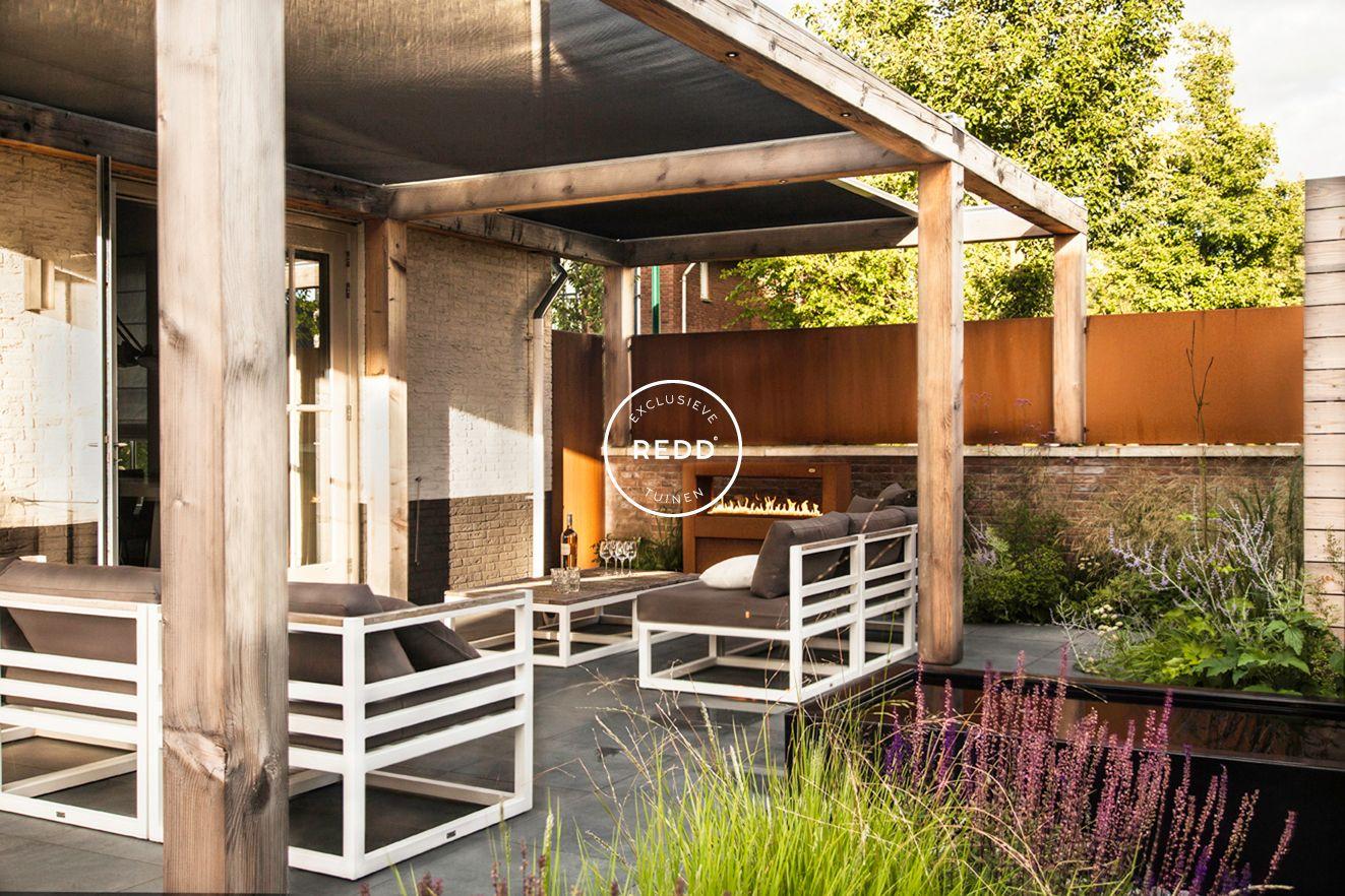 Tuinontwerp door studio redd exclusieve tuinen zonnedoek