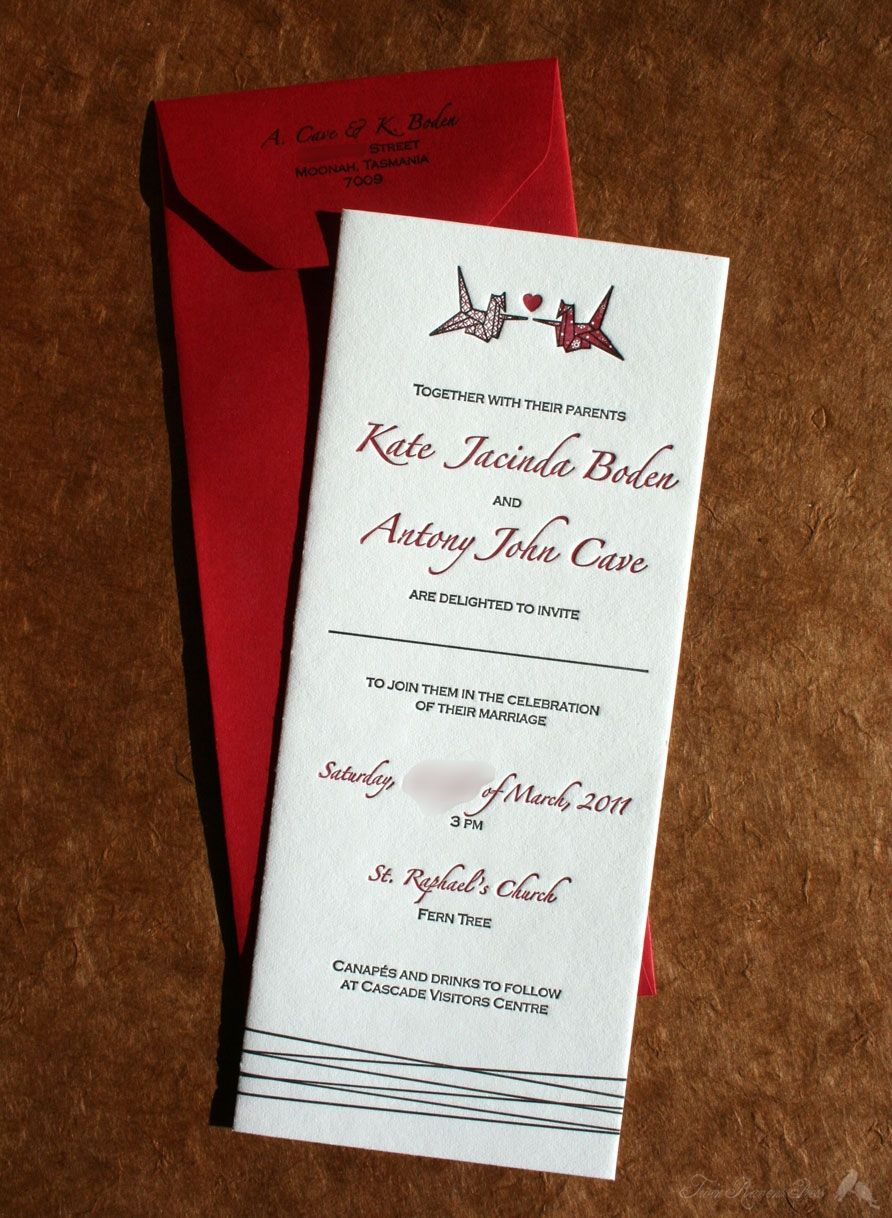 Origami Bird Wedding Invitation Letterpress And Stationery