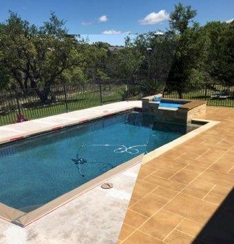 Austin Texas Pool Deck Resurfaced Concrete Overlay Tape