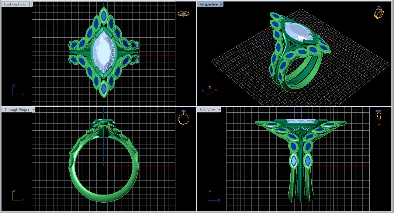 Louisa Westwood Ring with Side Bands Matrix CAD Screenshot 3d