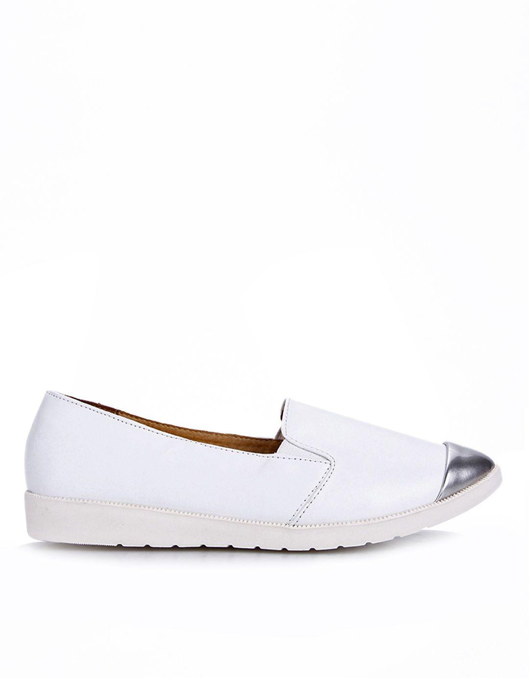 Connexion Silver Toe Ladies Slip On Putih Sepatu Sepatu