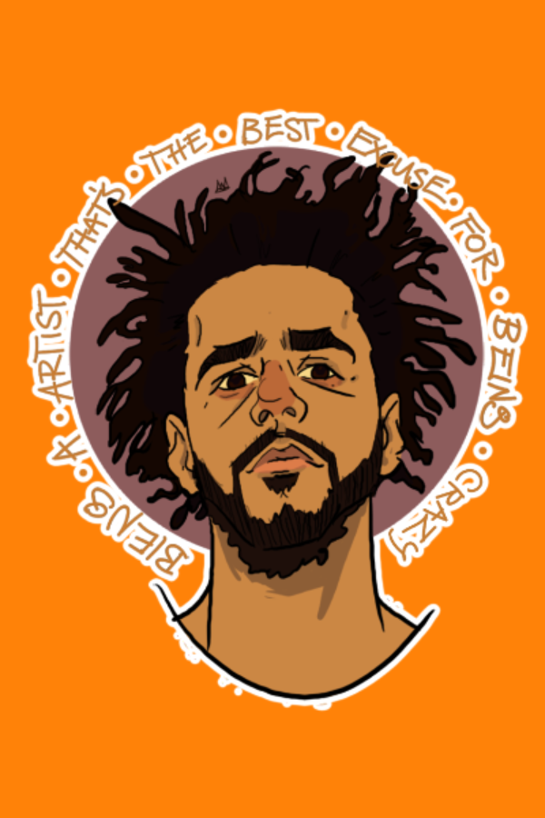 J Cole Sticker One Of The Most Conscious Rappers Out There Being A Artist That S The Best Excuse For Being Crazy A Quote Fro J Cole Art Hip Hop Artwork J Cole