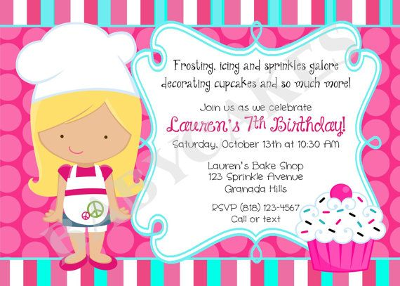 Girl for invitehey i found this really awesome etsy listing at little chef cupcake decorating party invitation cupcake birthday party chef baking party baking birthday invitation invite printable filmwisefo Gallery