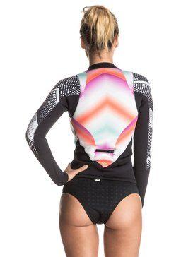 roxy, Pop Surf 2mm Front Zip Long Sleeve Jacket, POP SURF OCEAN SPRAY GRANATINA…