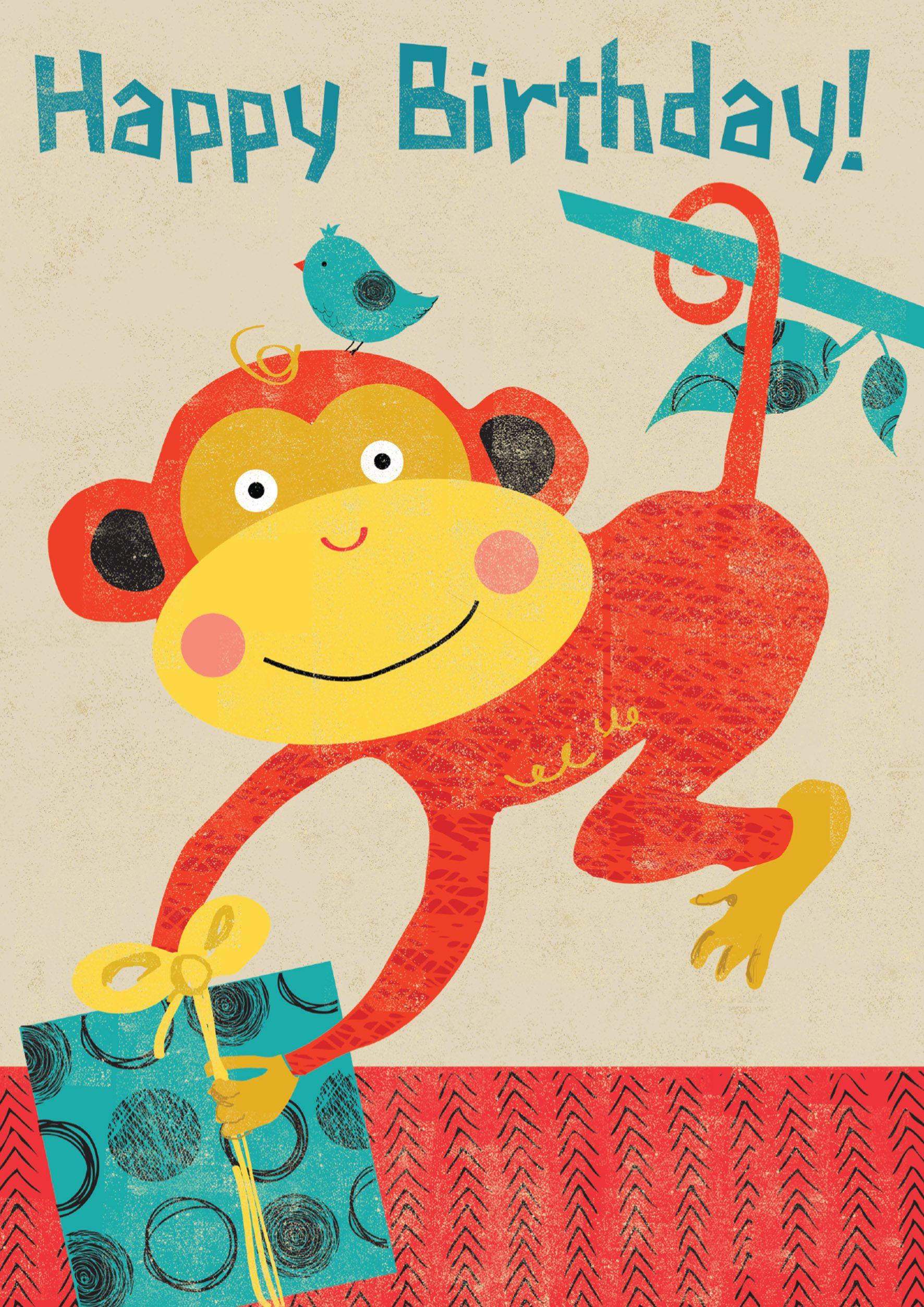 Retro Monkey Birthday Card Happy Birthday Cards Cool Birthday Cards Kids Birthday Cards