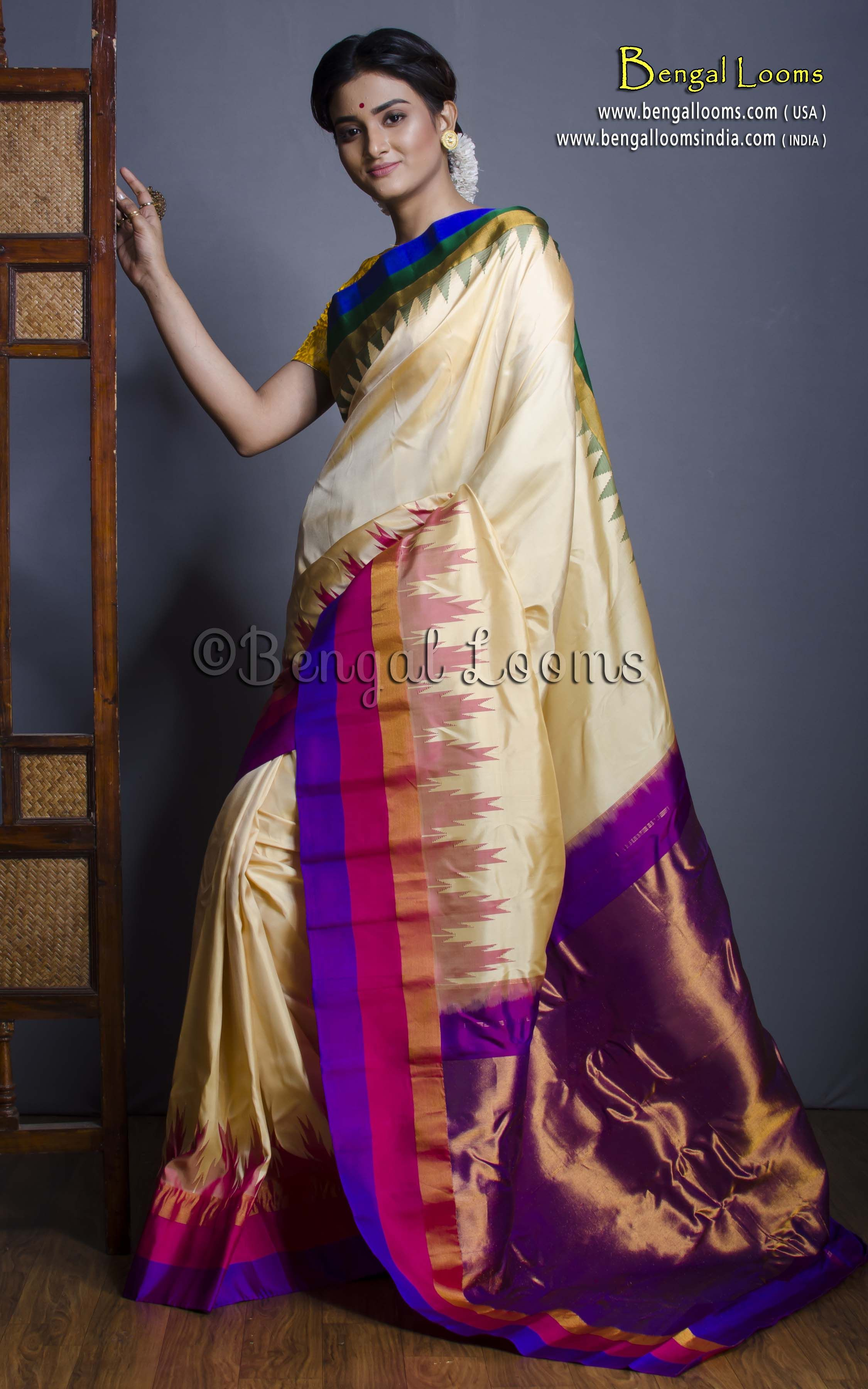 488628b39b Pure Handloom Gadwal Silk Saree with Metro Border in Cream, Rani, Purple