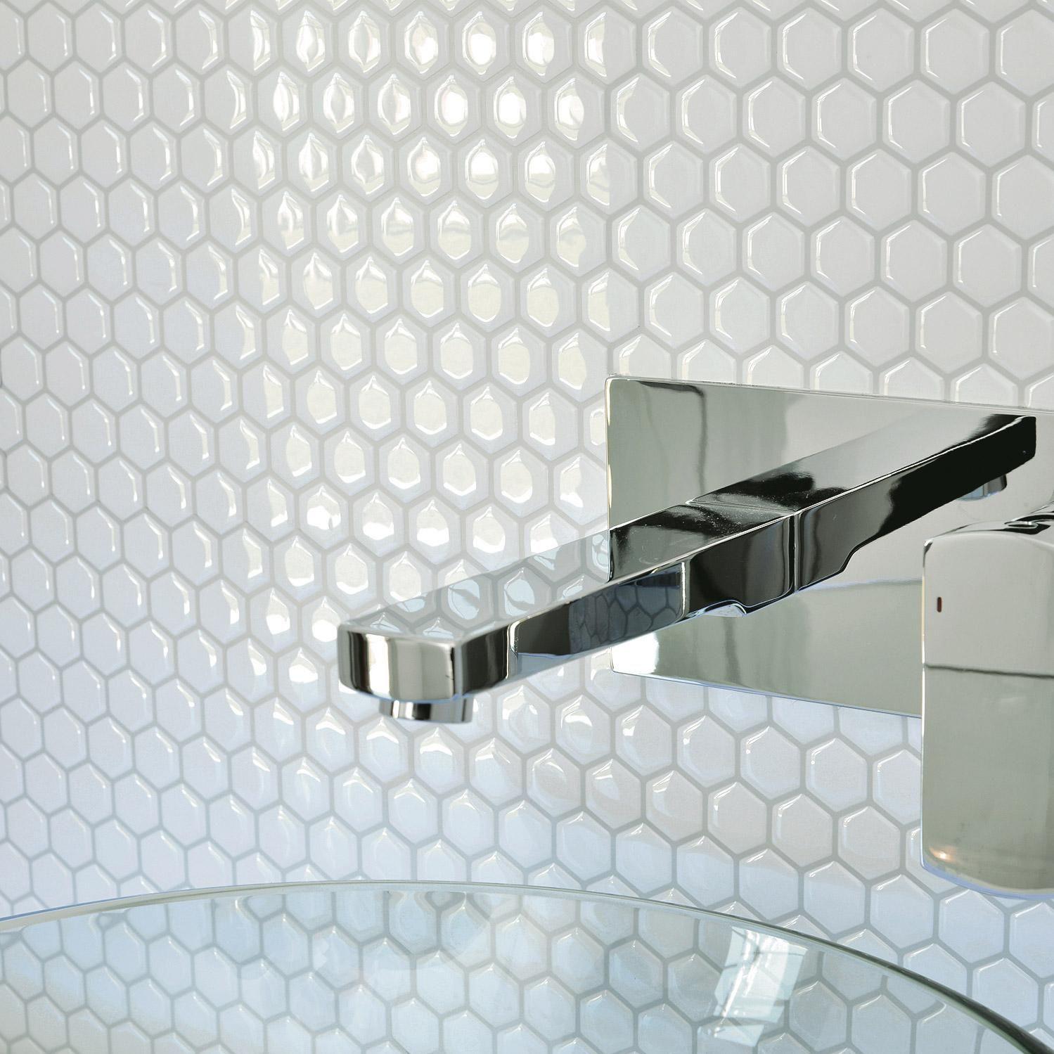 Credence Adhesive Imitant Carrelage Hexagone Blanc L 24 46 X L