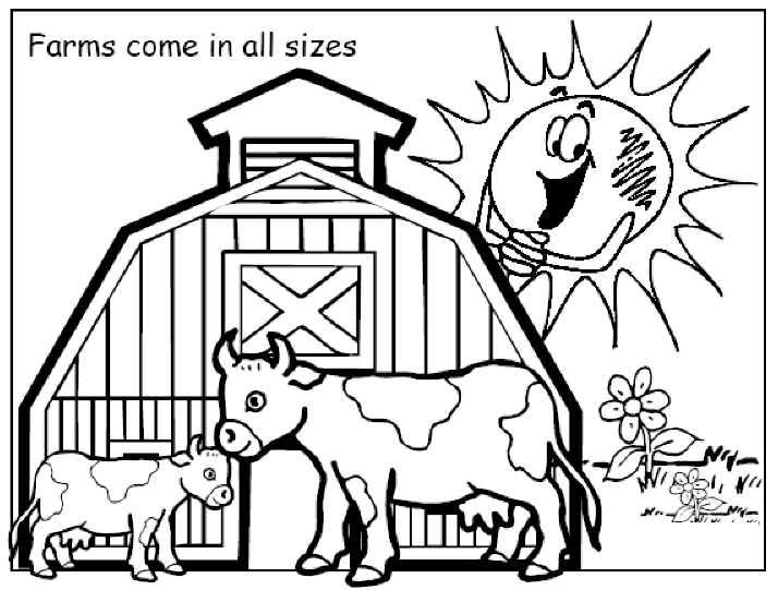 Free printable coloring pages Farm Picture with a cheerful sun