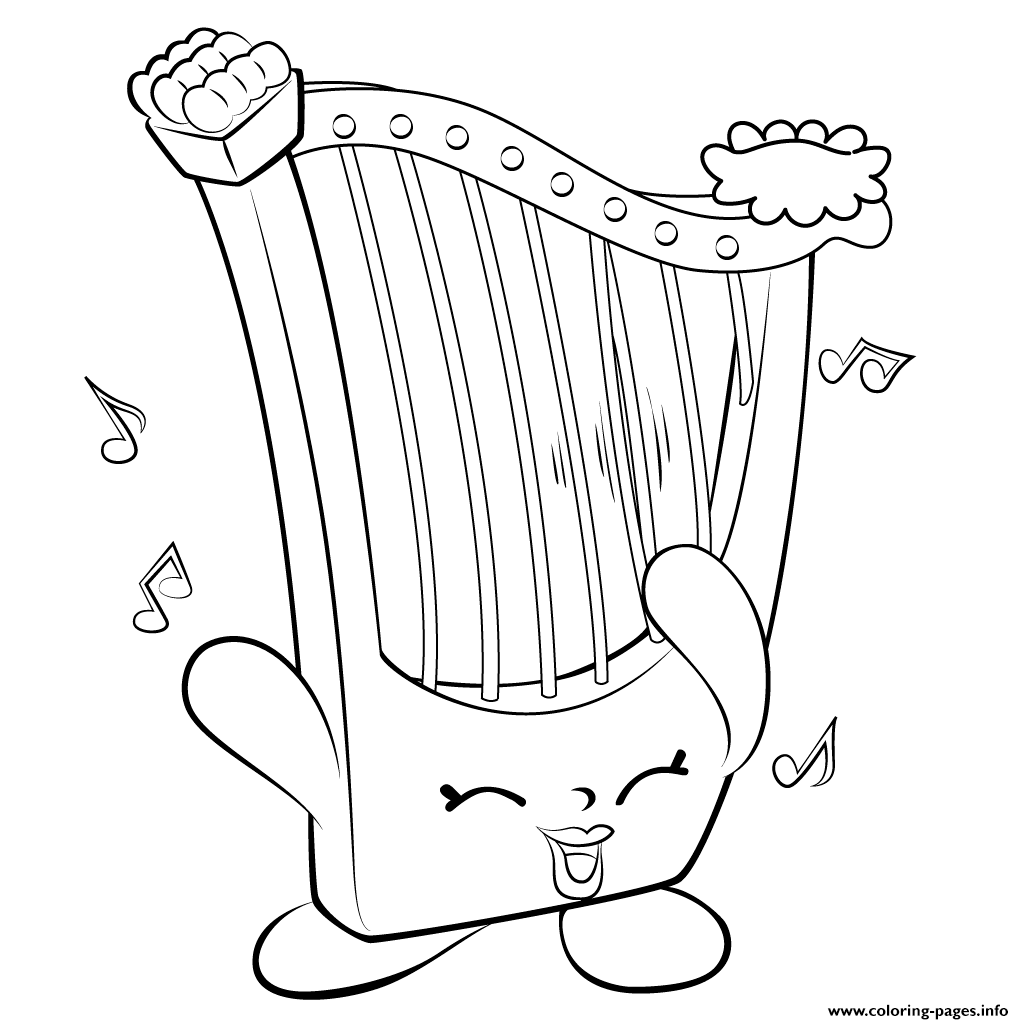 Print Harp Musical Instrument Shopkins Season 5 Coloring Pages