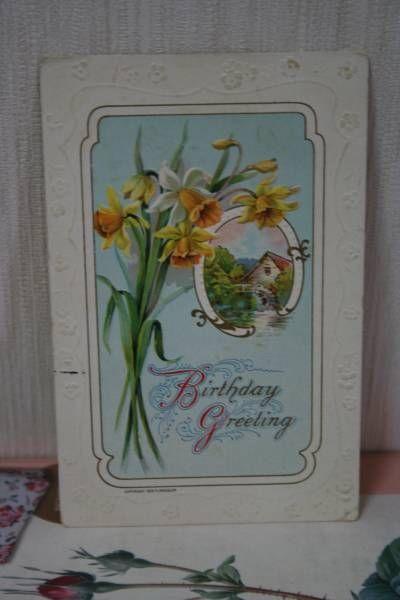 Postcard アンティークポストカード448すいせんの花景色エンボス インテリア 雑貨 家具 Antique ¥200yen 〆09月22日