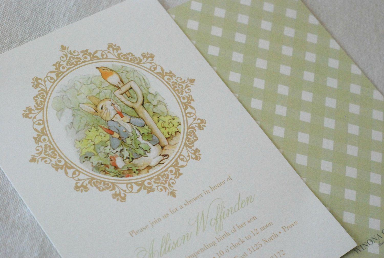 PRINTABLE - Peter Rabbit Baby Shower Invitation | Peter rabbit ...