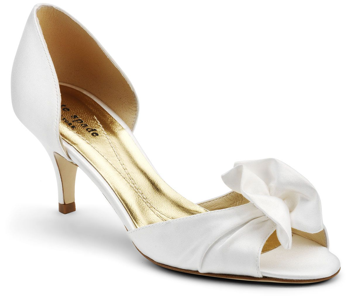 "White Kate Spade Evie Bridal Shoes $245.00 $295.00 ""This cute low ..."