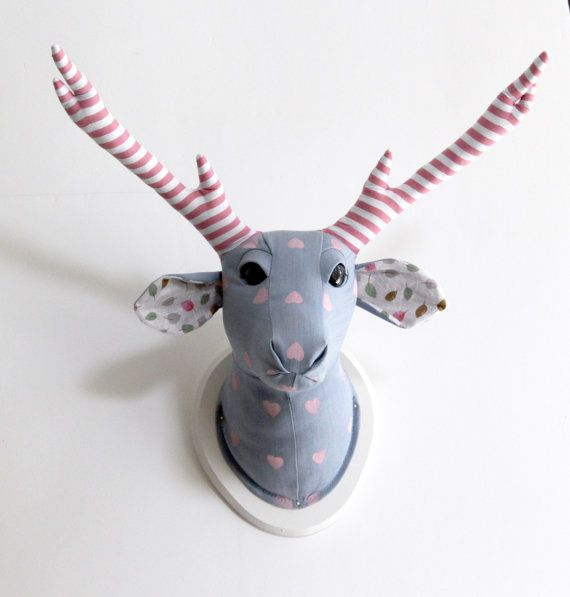 deer head  Pink hearts Light Blue  home decor for by DesignNoa, $95.00