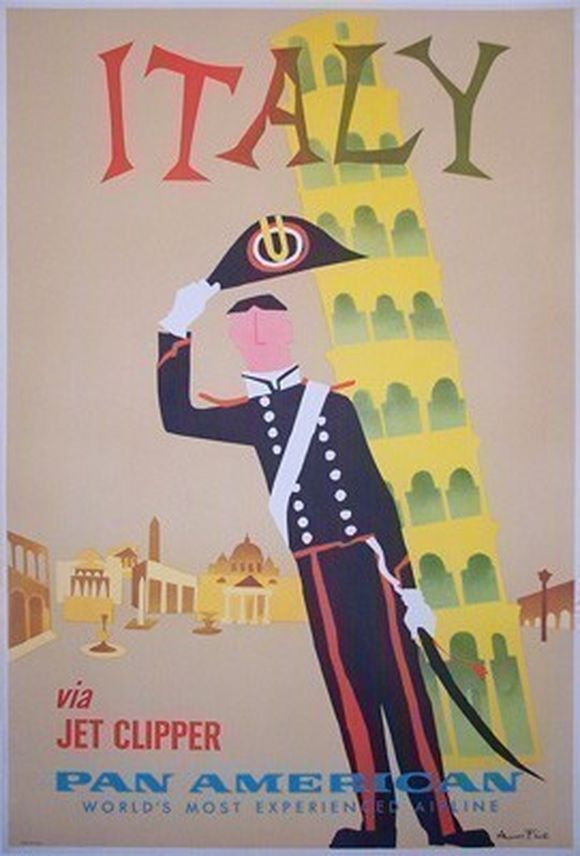 Look at this adorable vintage travel poster to Italy with Pan Am - an airline that no longer exists. I also flew on Pan Am - years ago.