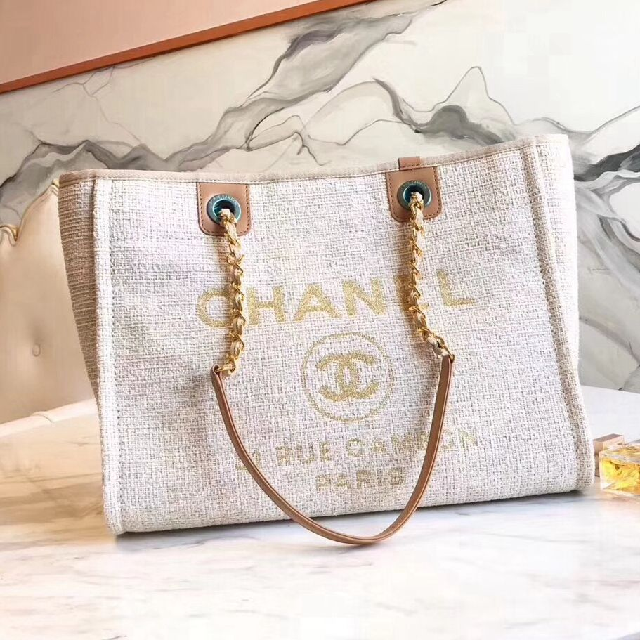 ee6eefa45 Chanel Deauville Medium Shopping Bag Beige 2018 | Bags | Chanel ...