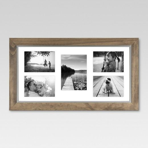 10x20 Weathered Wood With Aged Silver Inner Edge Picture Frame Can Float Various Sizes Photos To Create A Un Multiple Picture Frame Picture Frames Image Frame